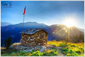 Sunrise over a Temple at the Goat Village in Uttaranchal
