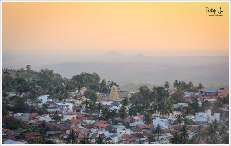 A view of Melkote town at sunset