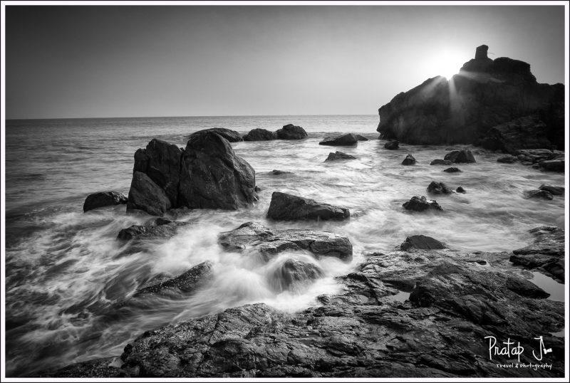 Sunset at Om Beach Gokarna in monochrome
