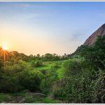 Savandurga temple during sunset