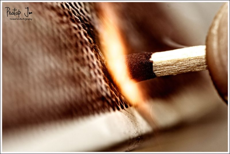 Close up a matchstick with a spark