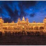 Mysore palace lit up on a public holiday