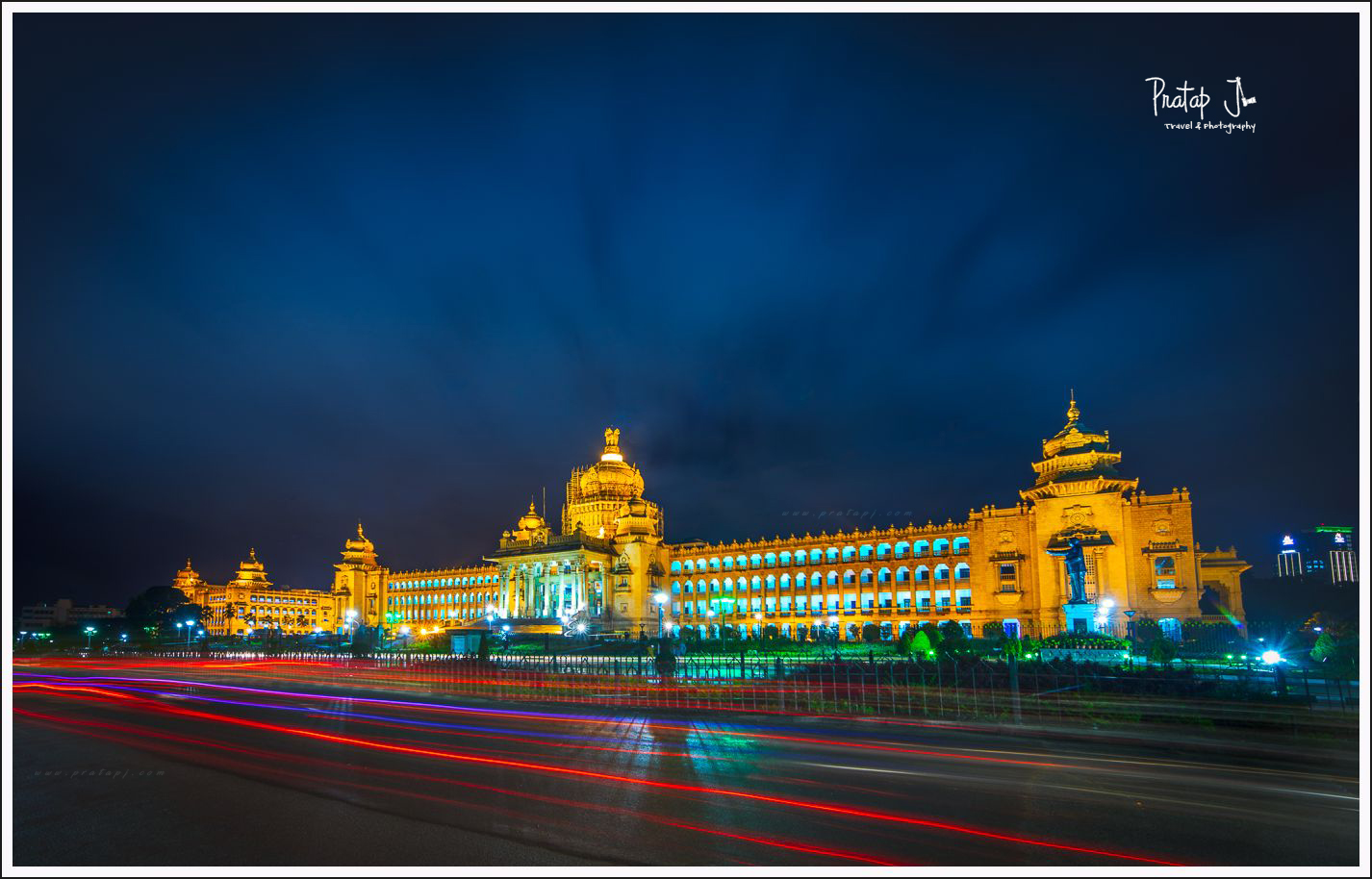 Vidhana Soudha in Bangalore with the lights on during blue hour