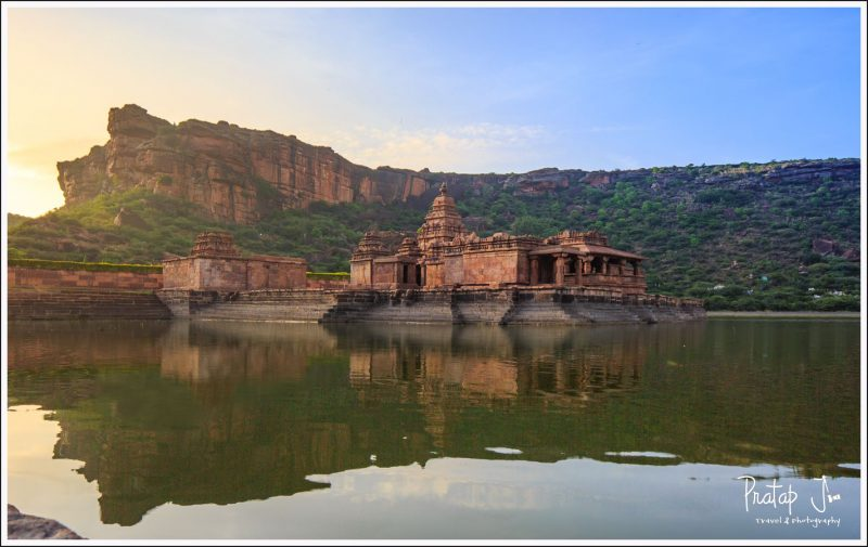 First rays of the sun on the Bhootanath Temple in Badami