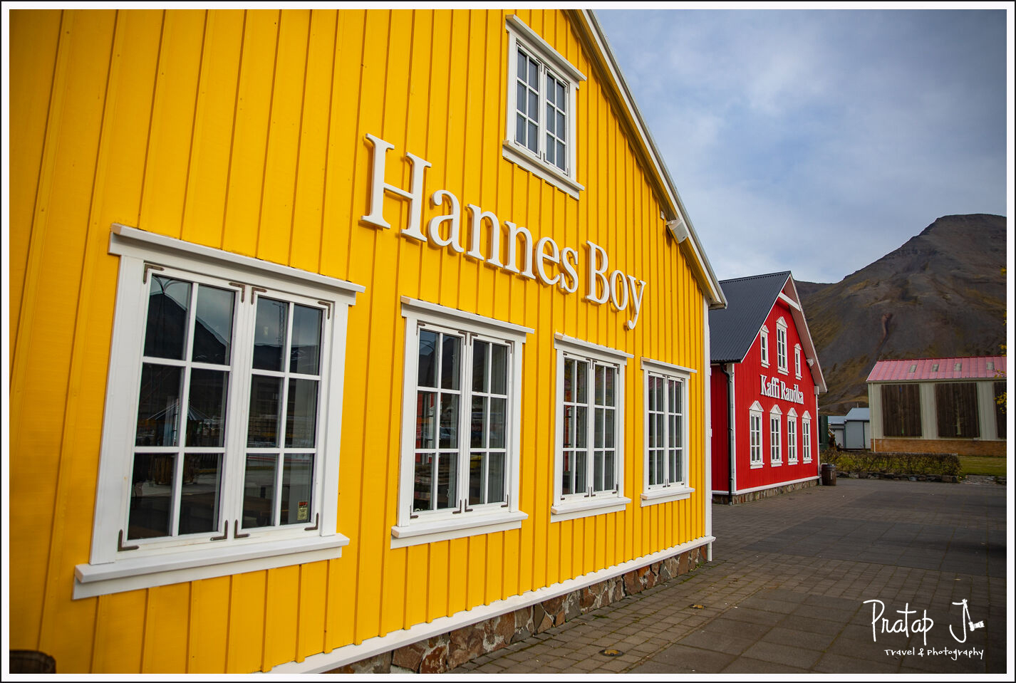 Bright yellow and red buildings in Iceland