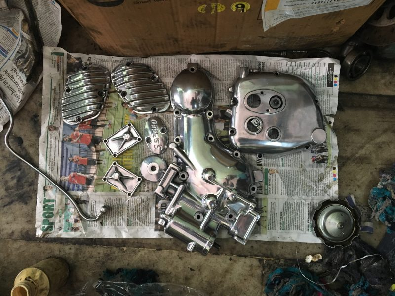 Buffed and shining engine parts
