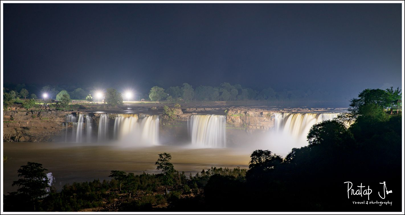 Chitrakote waterfall lit up at night