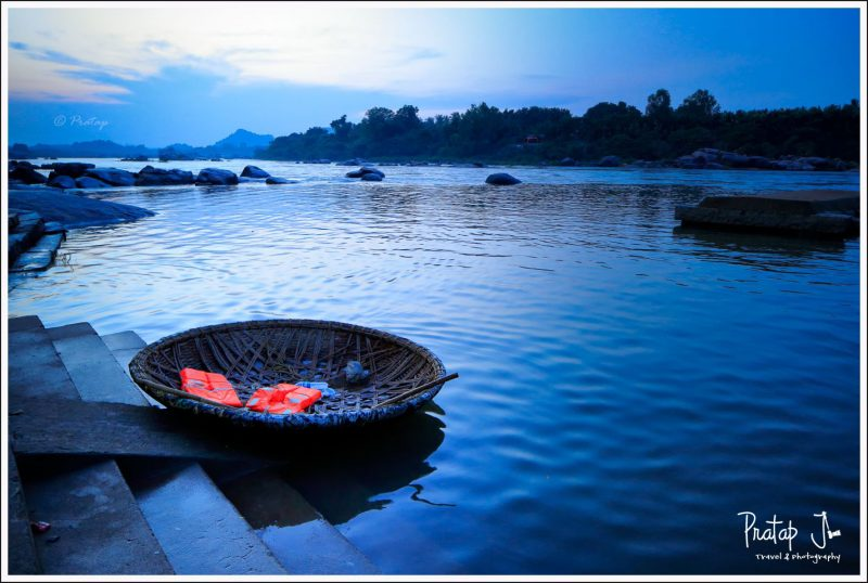 A coracle waits for passengers who want to cross to Anjanadri from Hampi after sun down.