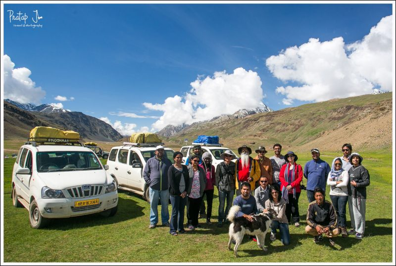 Darter group photo at Chandratal camp site