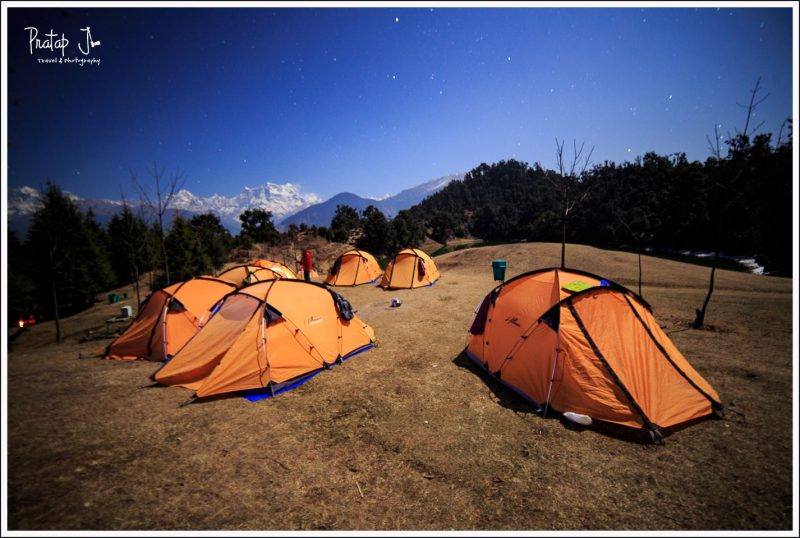 Tents at Deoriatal Camp Site at Night