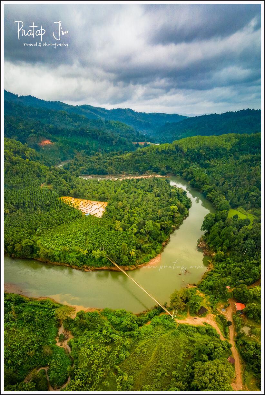 Drone photo of Kalasa Hanging Bridge