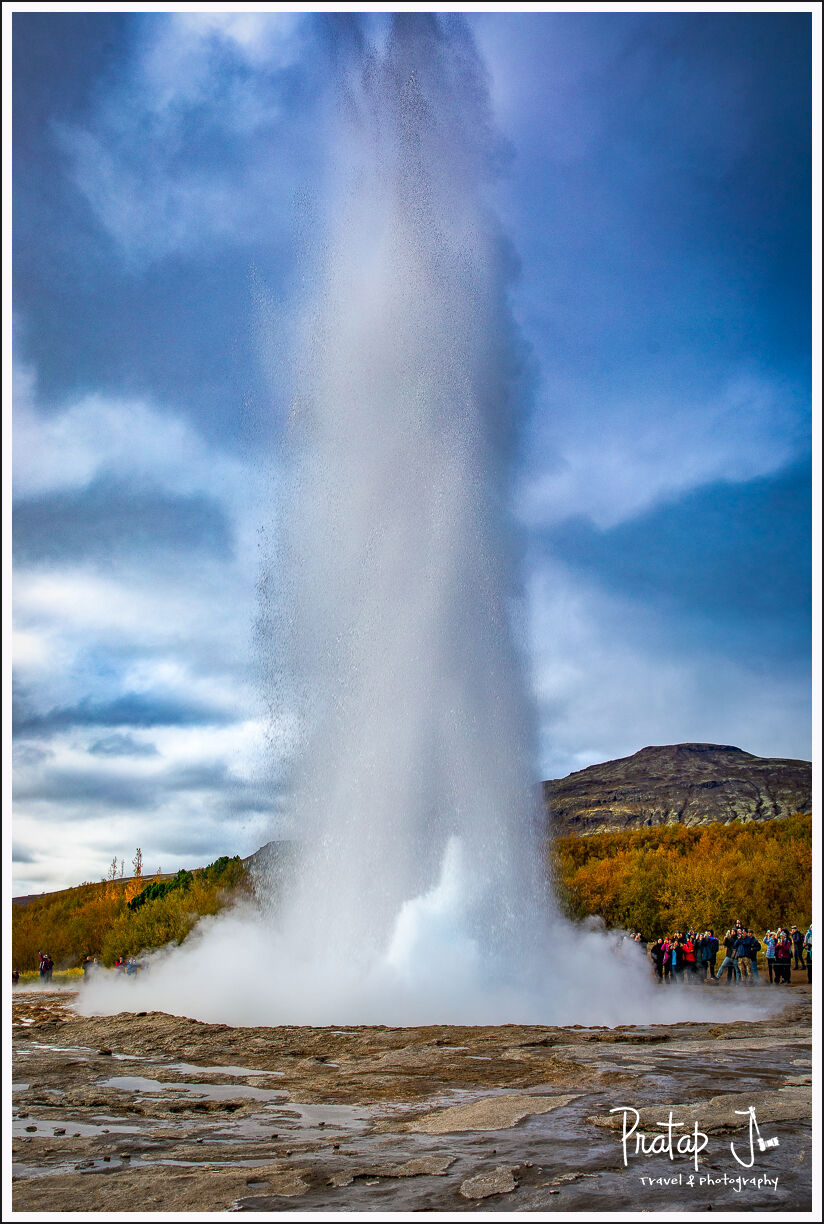 Water sprouting from the earth at Geysir