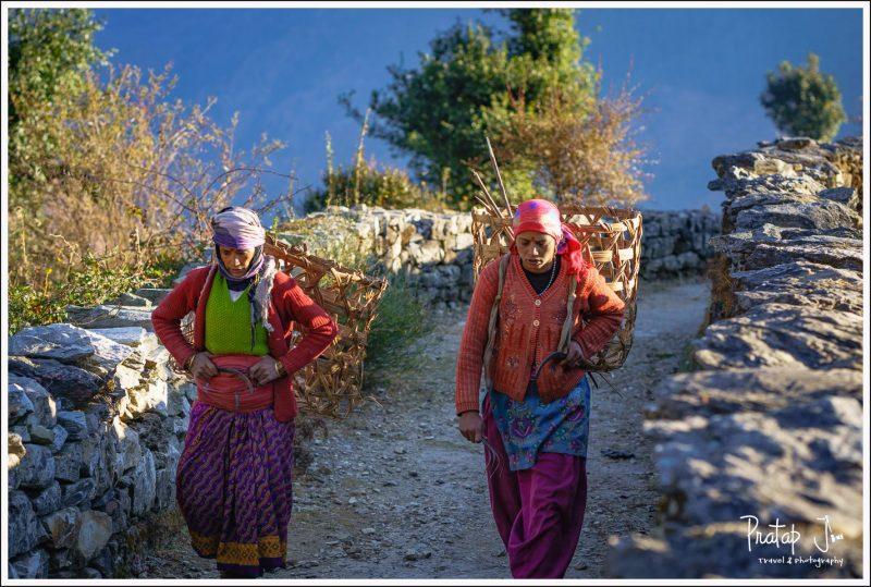 Gharwali women set off to work
