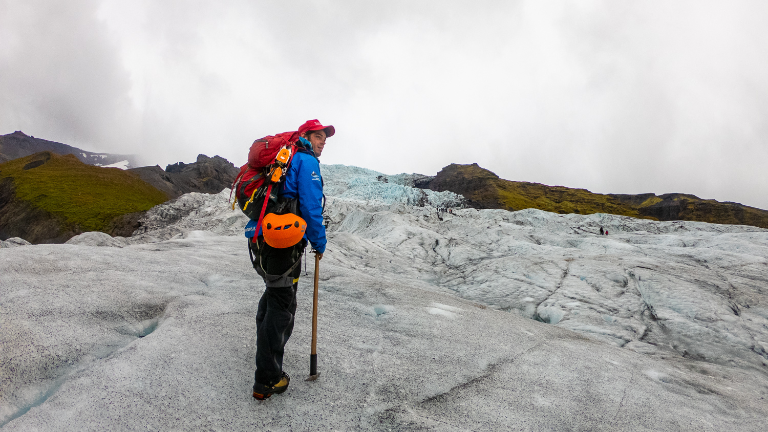 An Iceland guide on top of a glacier