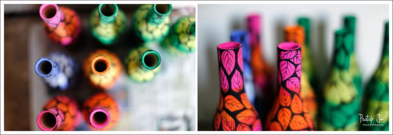 Handpainted wooden vases