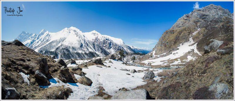 Panoramic view of Har-Ki-Dun covered in snow