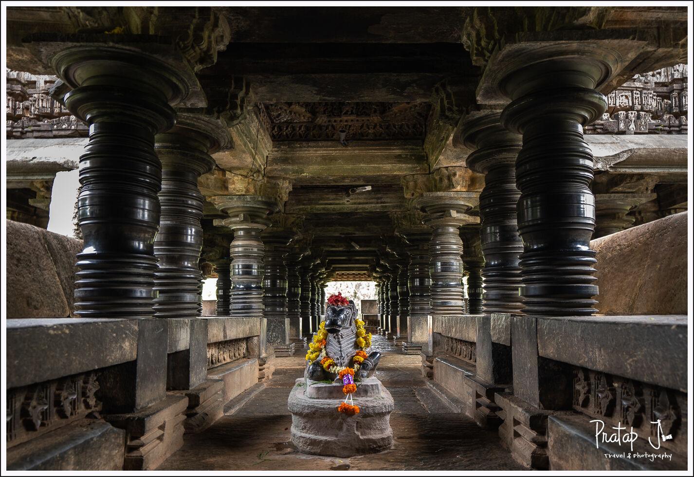 Inside the Amruthapura Amrutheshwar Temple