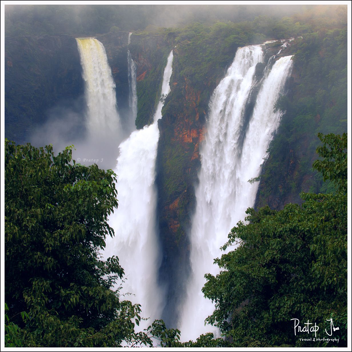 View of Jog Falls in Monsoon