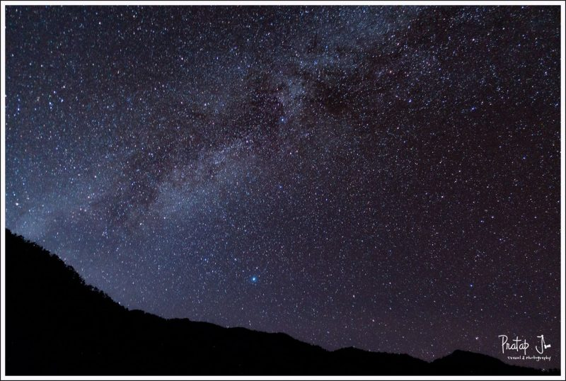 View of billion stars at the Goat Village