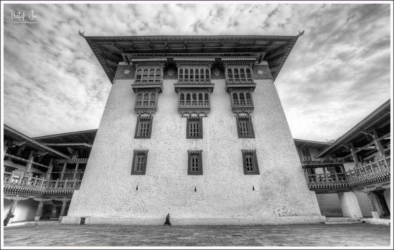 Monk inside Punakha Dzong