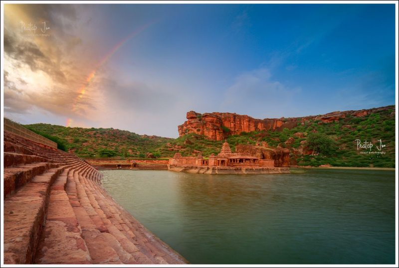 Rainbow over Bhutanatha temple in Badami
