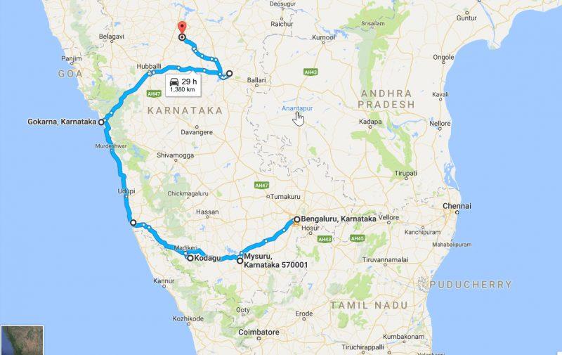 Karnataka Road Trip Map