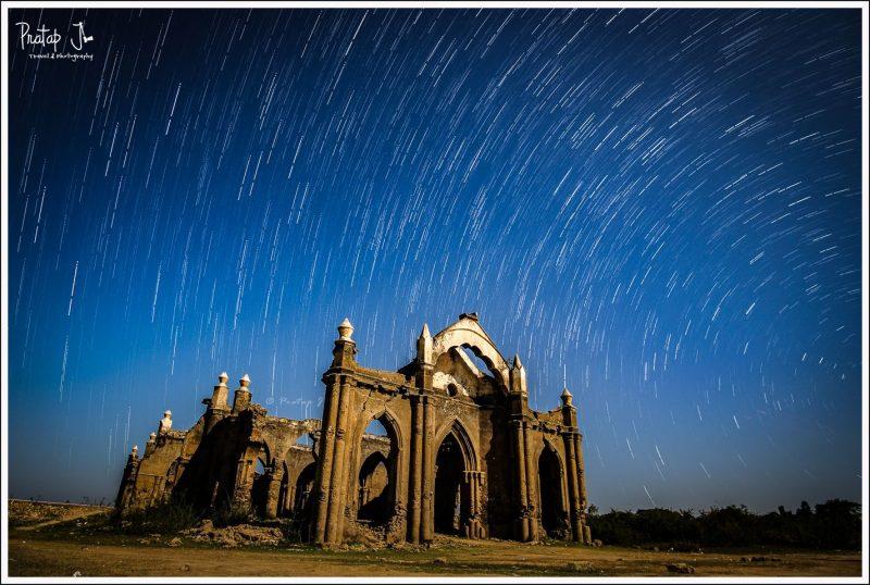 Star Trails over Shettihalli Church near Bangalore