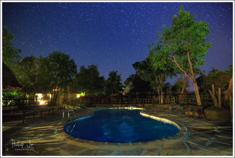 Swimming pool in Forsyth lodge under a star-lit night