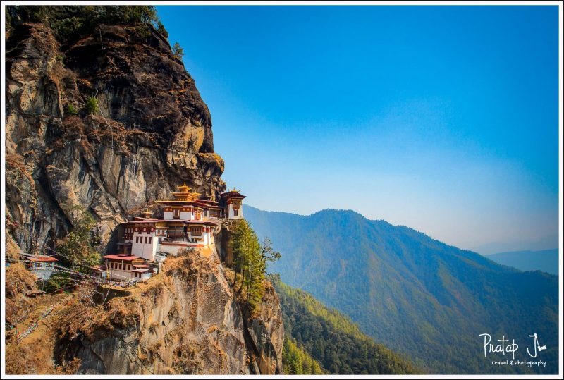 Wide view of Tiger's Nest in Bhutan