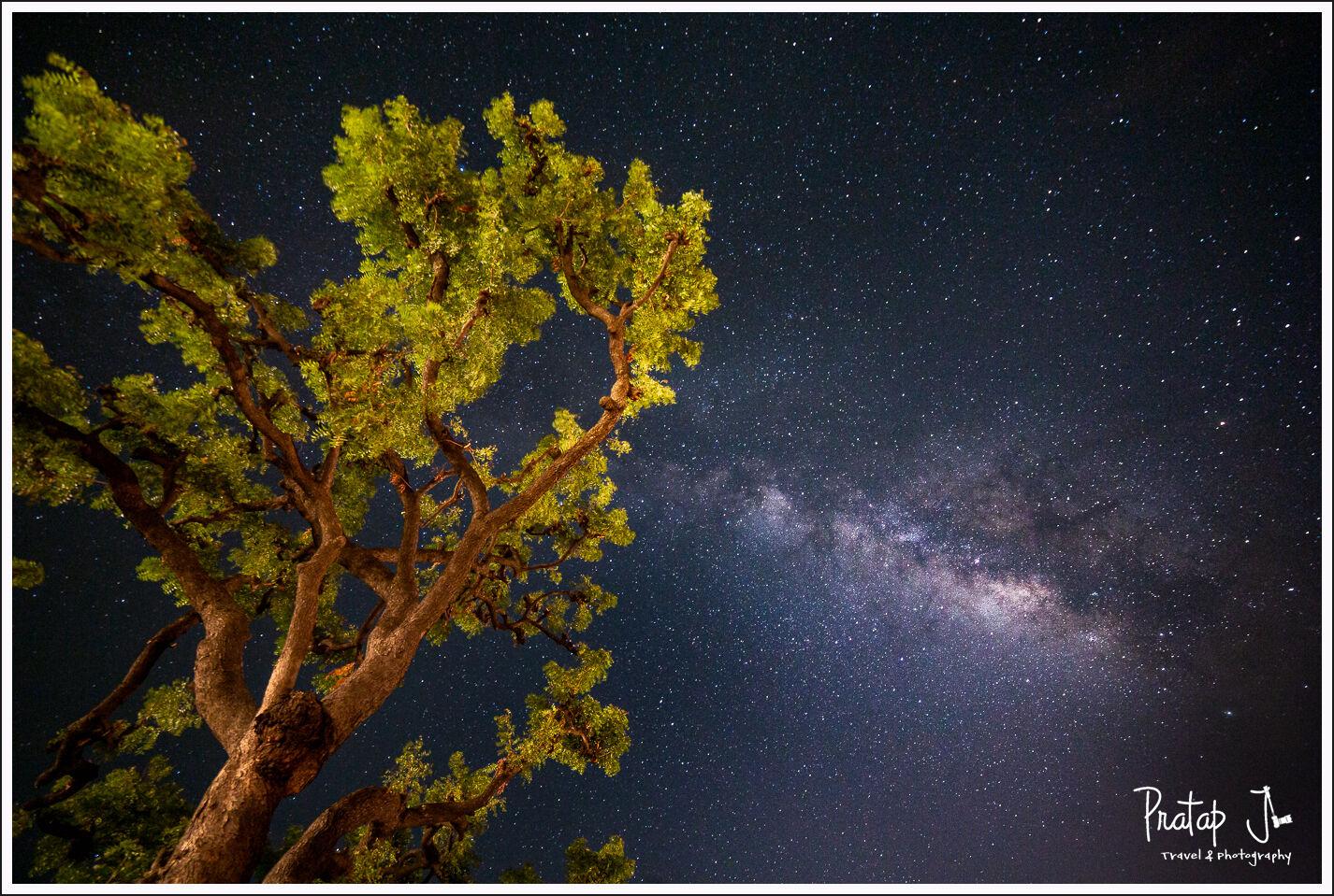 Milky Way in the night sky in Badami, Karnataka